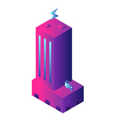futuristic building icon isometric style vector image