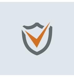 Gray-orange Shield Check Mark Round Icon vector
