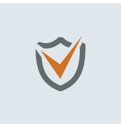 Gray-orange Shield Check Mark Round Icon vector image vector image