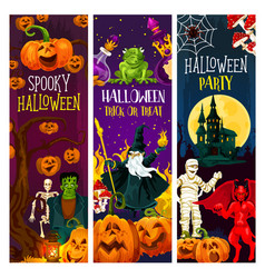 halloween party banner with trick or treat pumpkin vector image