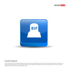 halloween rip grave stone icon - 3d blue button vector image