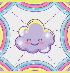 happy fluffy clouds and cute rainbow vector image
