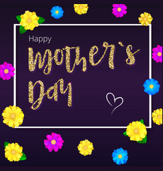Happy mother day greeting banner gold glitter vector
