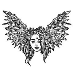 Head a girl with wings flying head a vector