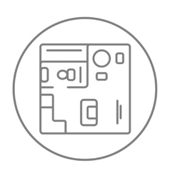 House interior with furniture line icon vector image