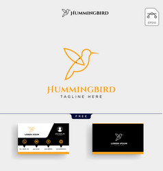 humming bird beauty logo template and business vector image