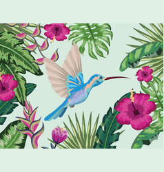 Hummingbird with tropical flower and plants vector