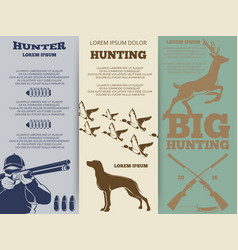 hunting brochure flyers template design vector image