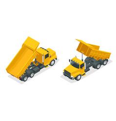 Isometric dumper truck excavator dump truck vector