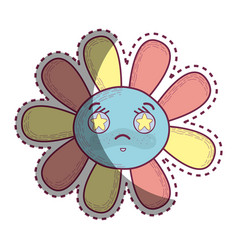 Kawaii angry flower with stars inside eyes vector