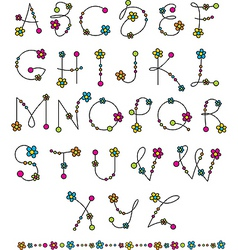 latin alphabet flowers vector image