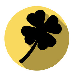 Leaf clover sign flat black icon with vector