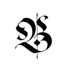 Letter b in gothic style alphabet the symbol vector