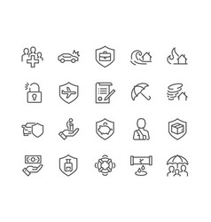 line insurance icons vector image