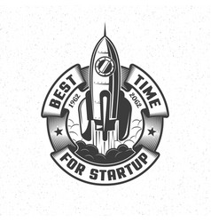 logo with a launching spaceship vector image