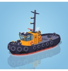 Low poly orange and black tugboat vector