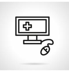 Medical computer black line icon vector image