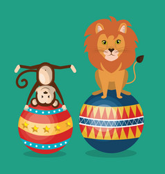 Monkeys and lion circus show vector