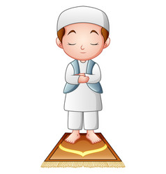 Muslim kid praying isolated on white background vector