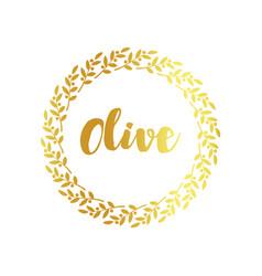 olive label golden ornamental border vector image
