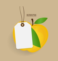 Paper note with yellow apple background vector image