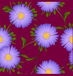 Purple aster flower on violet red background vector