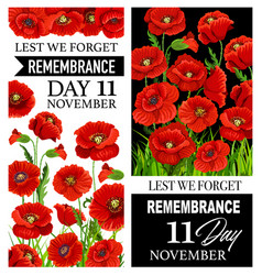 Remembrance day red poppy flowers lest we forget vector