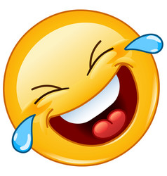 rolling on floor laughing with tears emoticon vector image