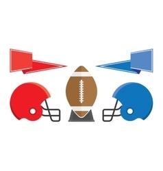 rugball and helmet american football vector image