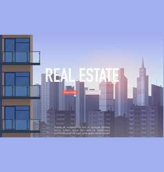 sale buy rent real estate landing page urban vector image