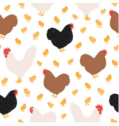 Seamless pattern with domestic birds or farm vector