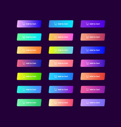 set 21 colorful gradient buttons on dark vector image
