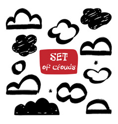 Set clouds hand-drawn cloud collection vector