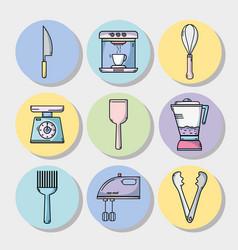 set kitchen utensils object to make food vector image