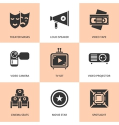 Set of black cinema movie icons vector