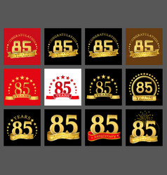 set of number eighty five year 85 year vector image