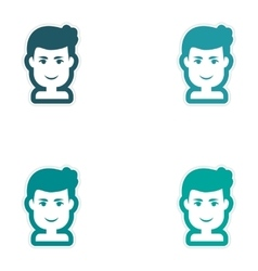 Set of paper stickers on white background men vector image