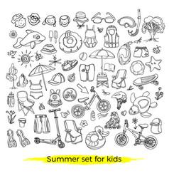 set summer swim kids vector image