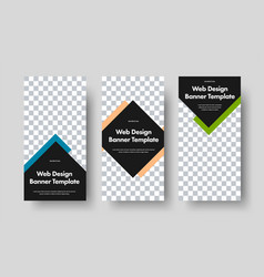 Set vertical black web banners with arrow vector