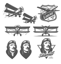 set vintage aircraft design elements vector image