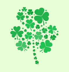 Shamrock shape made with green flat vector