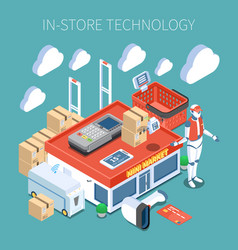 Shop technology isometric composition vector