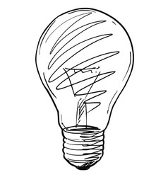 Sketch drawing of light bulb vector
