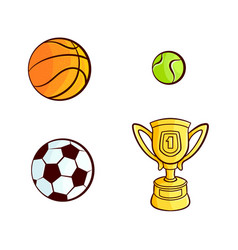 sketch sport equipment set vector image