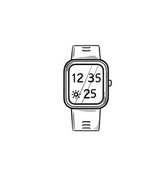 smart watch hand drawn outline doodle icon vector image