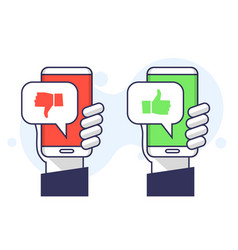 smartphone with like dislike message speech bubble vector image