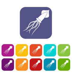 squid icons set flat vector image