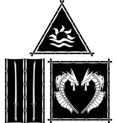 Stencils of fantasy east flags and standards vector