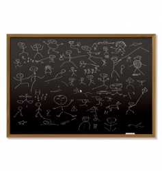 Stick man blackboard vector
