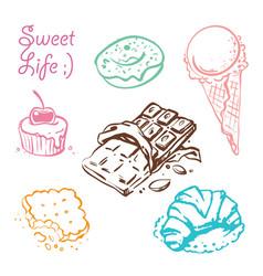 sweet desserts doodle set vector image